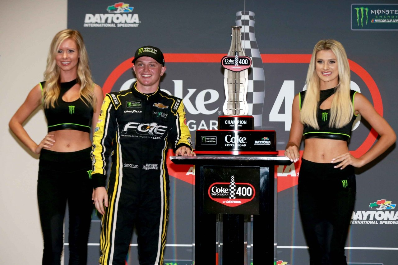 Justin Haley and the Monster Energy Girls at Daytona International Speedway