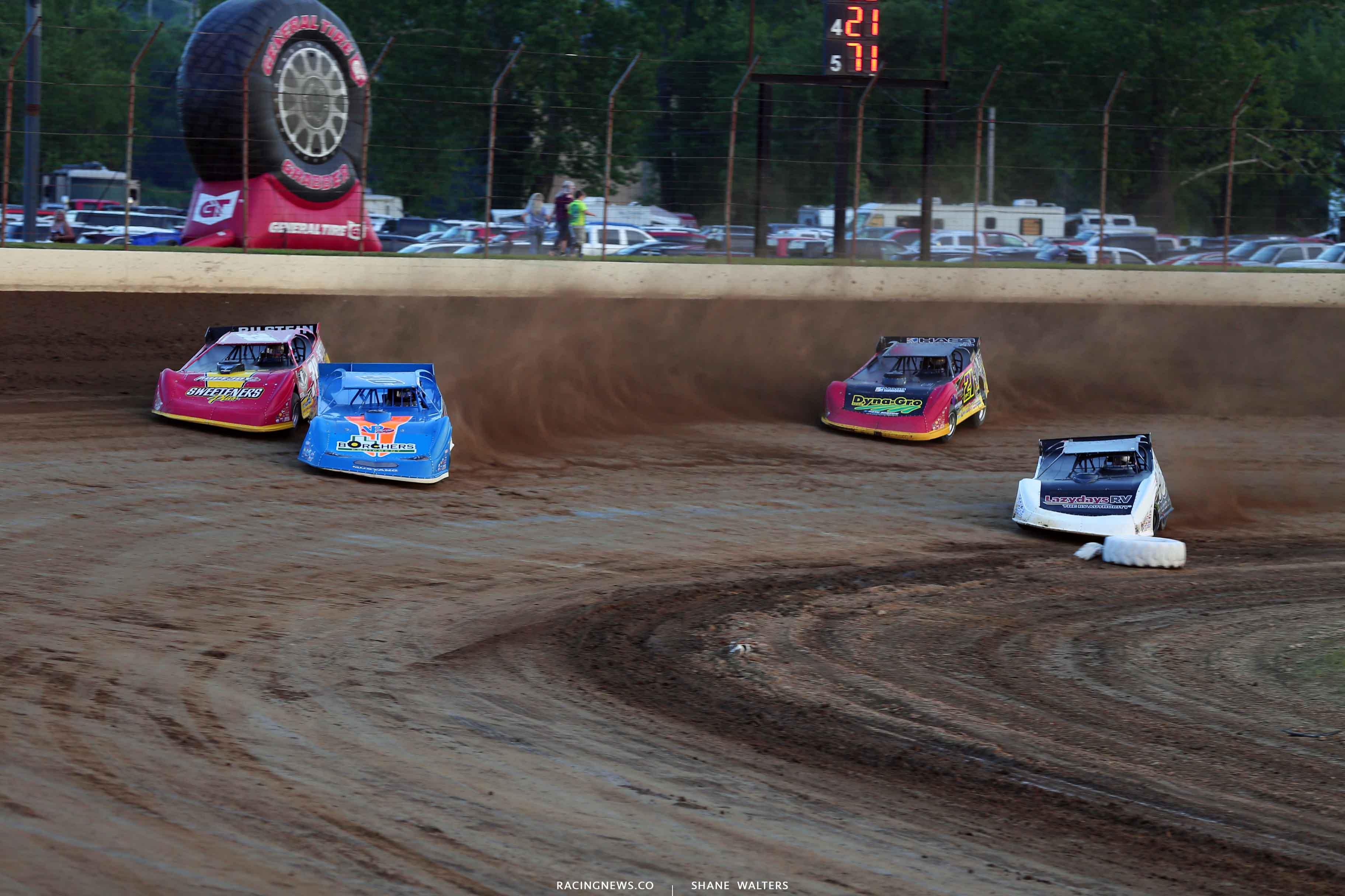 Kyle Bronson, Tim McCreadie, Shanon Buckingham and Billy Moyer Jr at Portsmouth Raceway Park 7441
