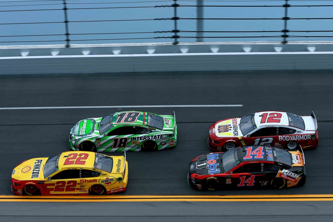 Kyle Busch, Joey Logano, Ryan Blaney and Clint Bowyer at Daytona International Speedway