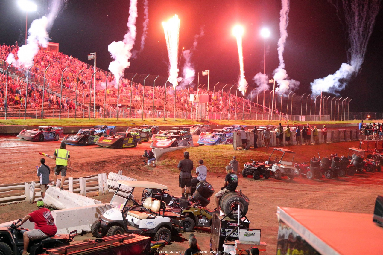 Lucas Oil Late Model Dirt Series - 4 Wide Salute with fireworks 2147