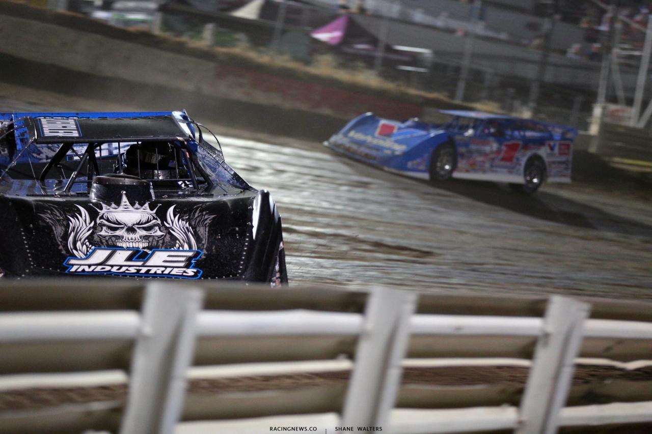 Mason Zeigler leads Brandon Sheppard at I-80 Speedway - Lucas Series 2214