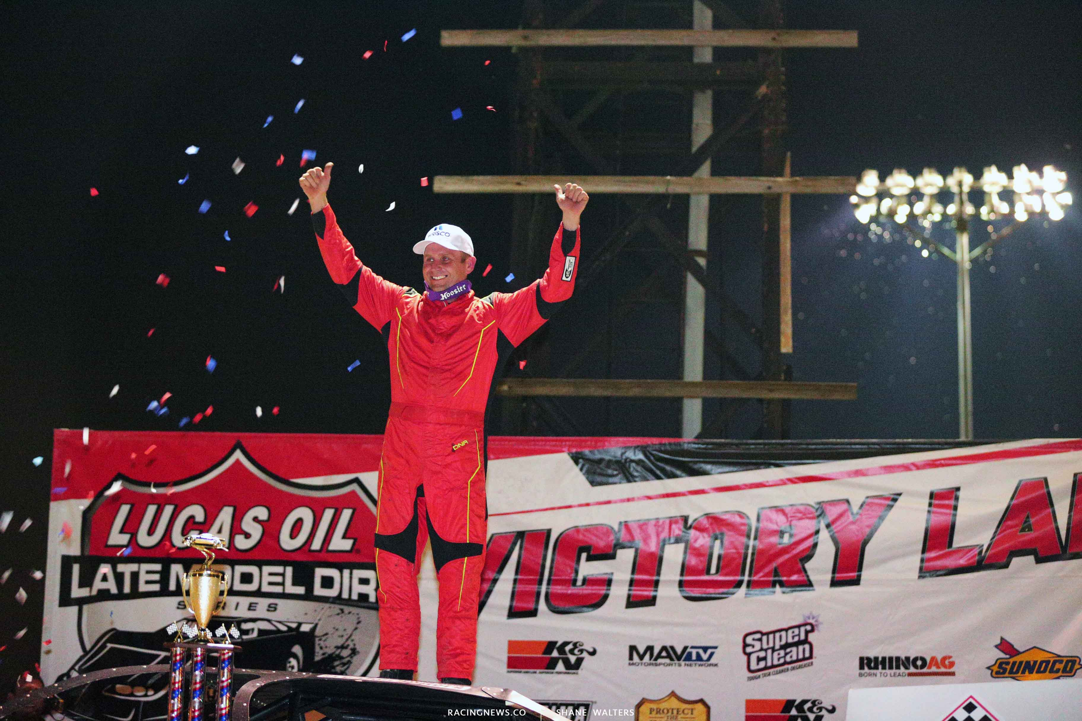 Mike Marlar and the red fire suit in victory lane at Portsmouth Raceway Park 7595