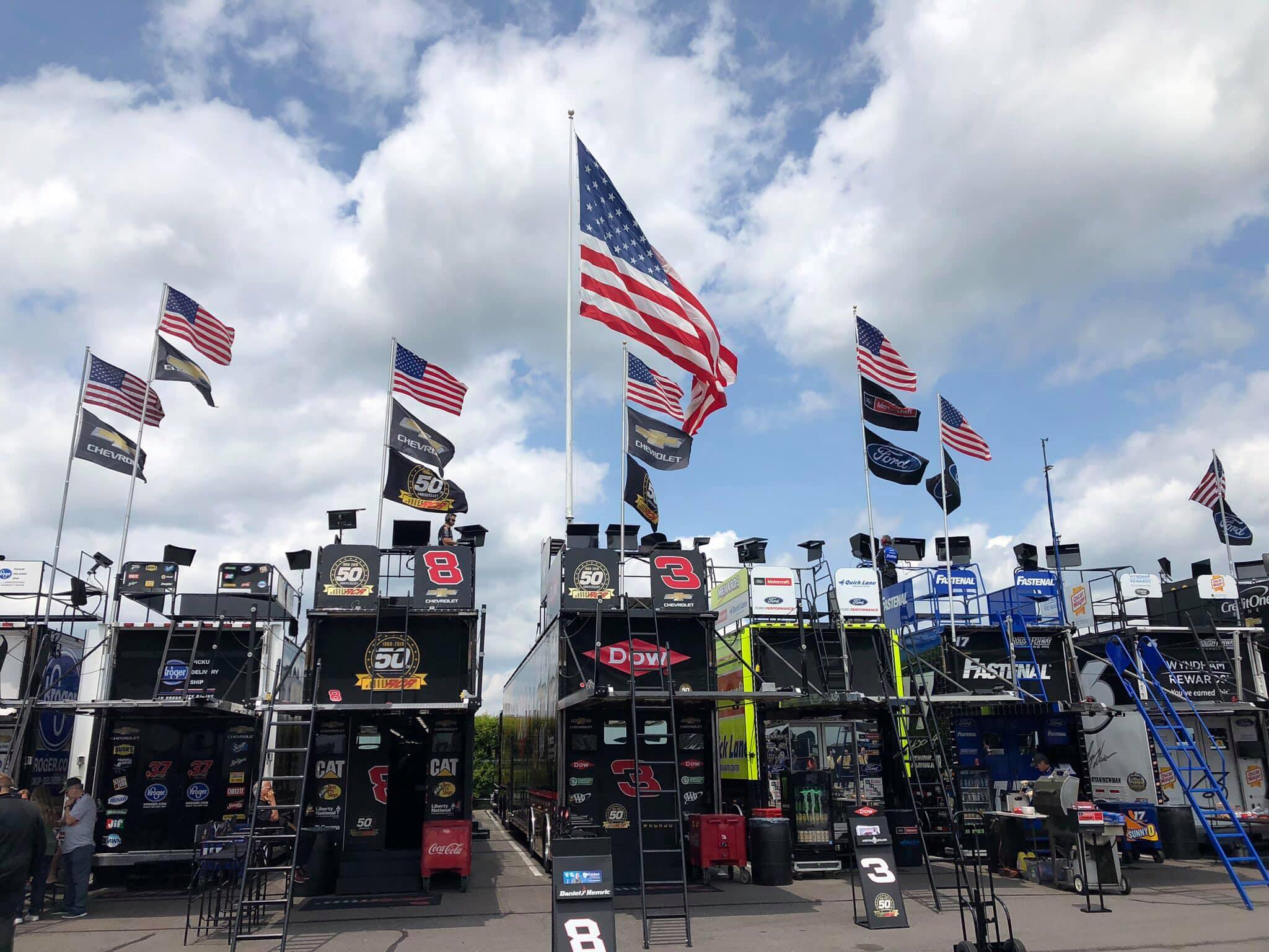 NASCAR garage area at Pocono Raceway