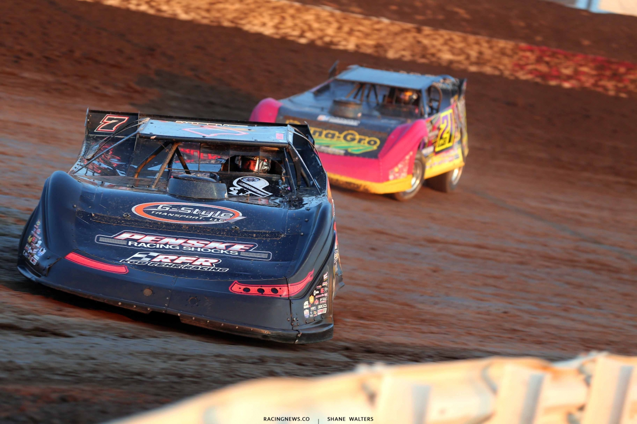 Ricky Weiss and Billy Moyer Jr in the Silver Dollar Nationals at I-80 Speedway 2685