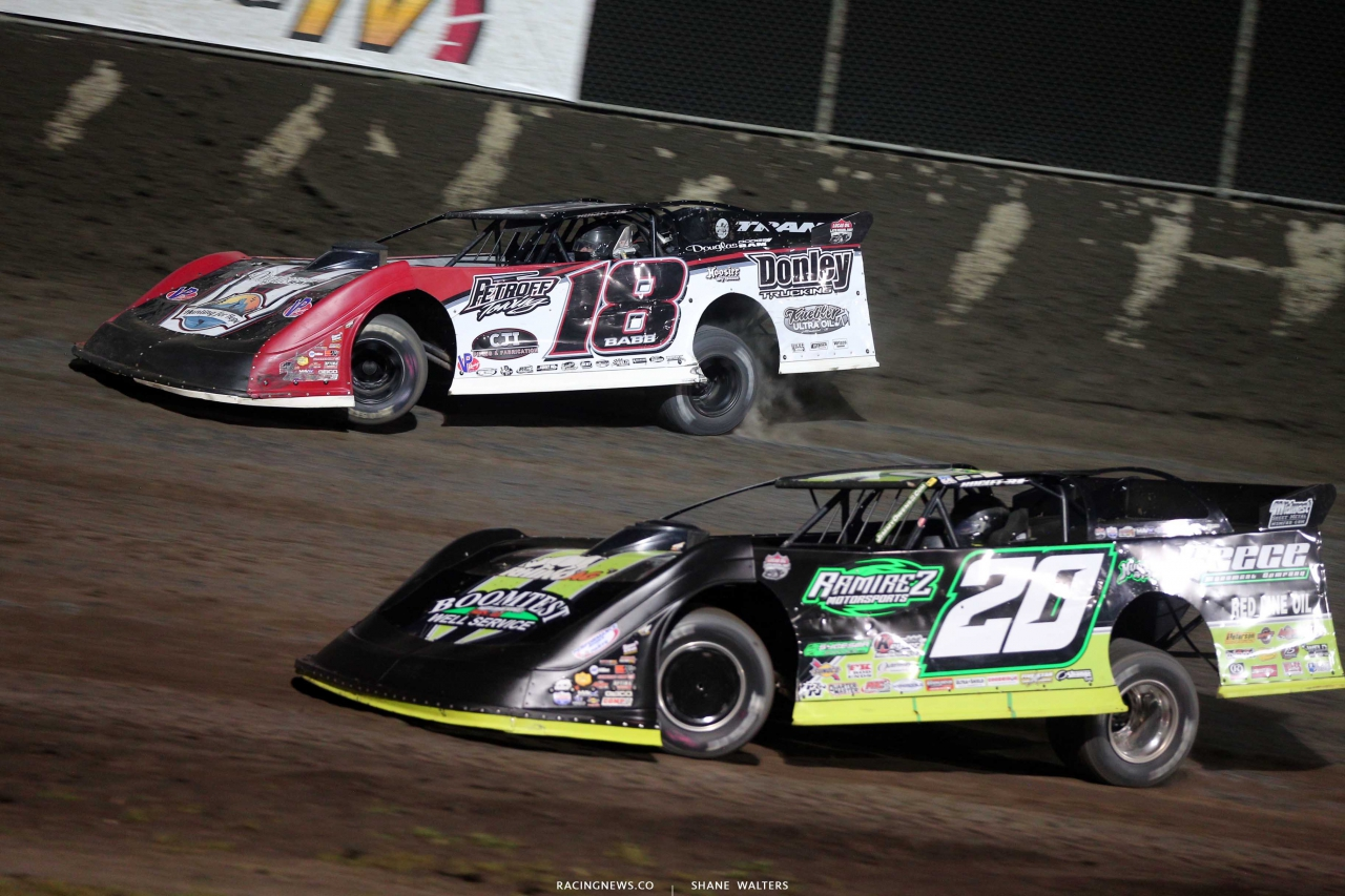 Shanon Babb and Jimmy Owens at Tri-City Speedway - Lucas Oil Late Models 9460