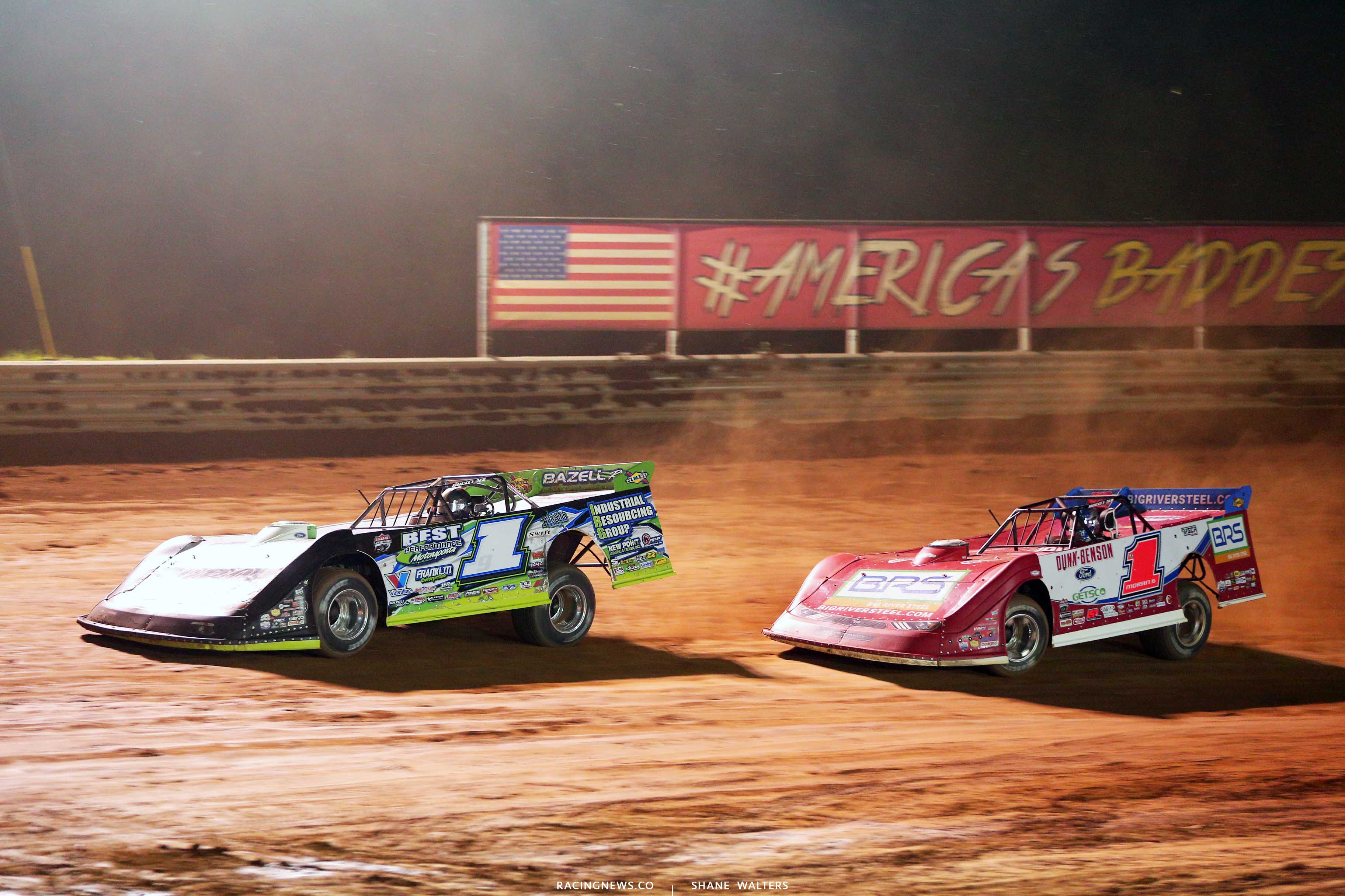 Tyler Erb and Devin Moran at Tyler County Speedway - Lucas Oil Late Models 8062