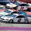 Brad Keselowski, Bubba Wallace and Denny Hamlin at Michigan International Speedway - NASCAR