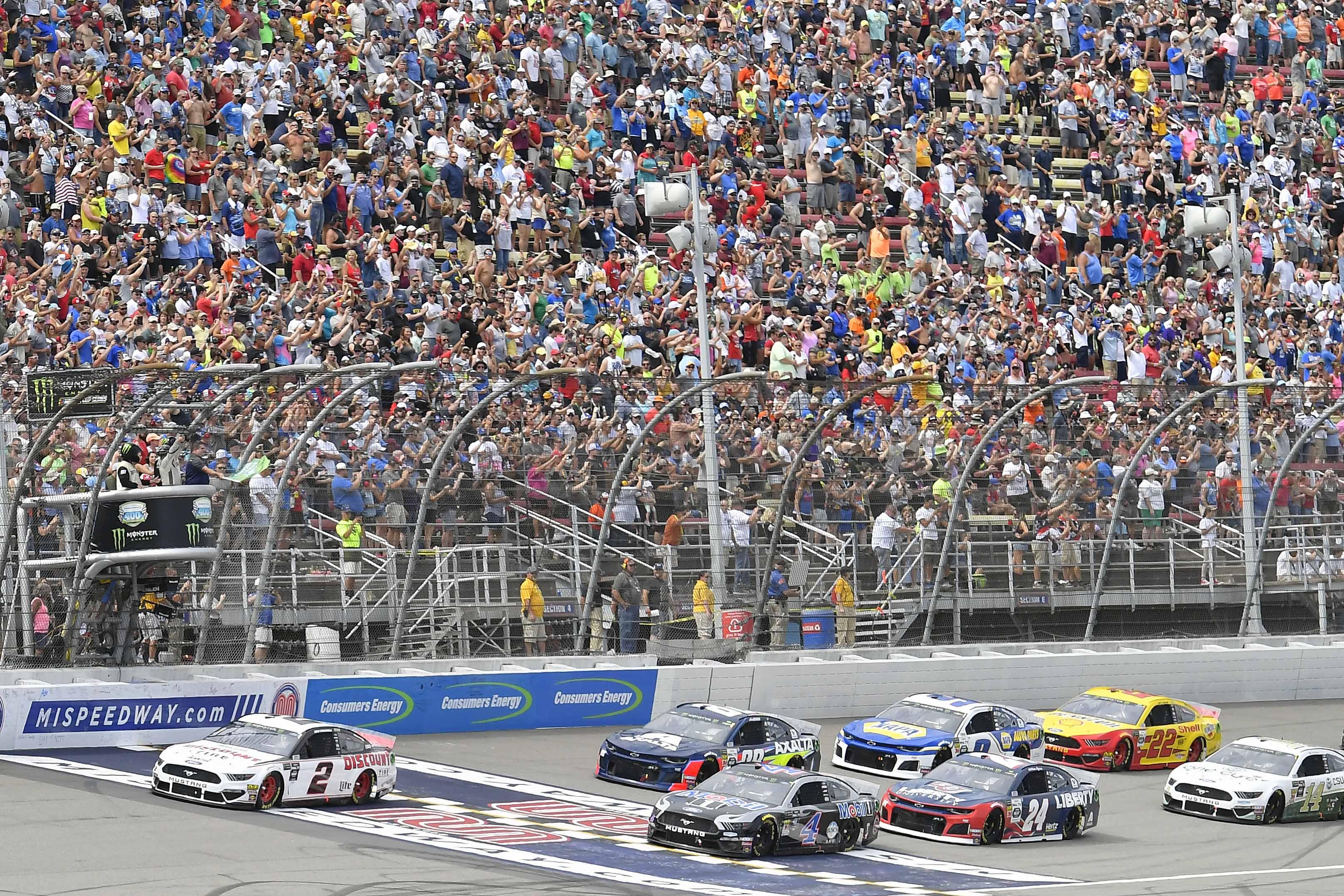 Brad Keselowski, Kevin Harvick, William Byron, Alex Bowman, Chase Elliott and Joey Logano at Michigan International Speedway