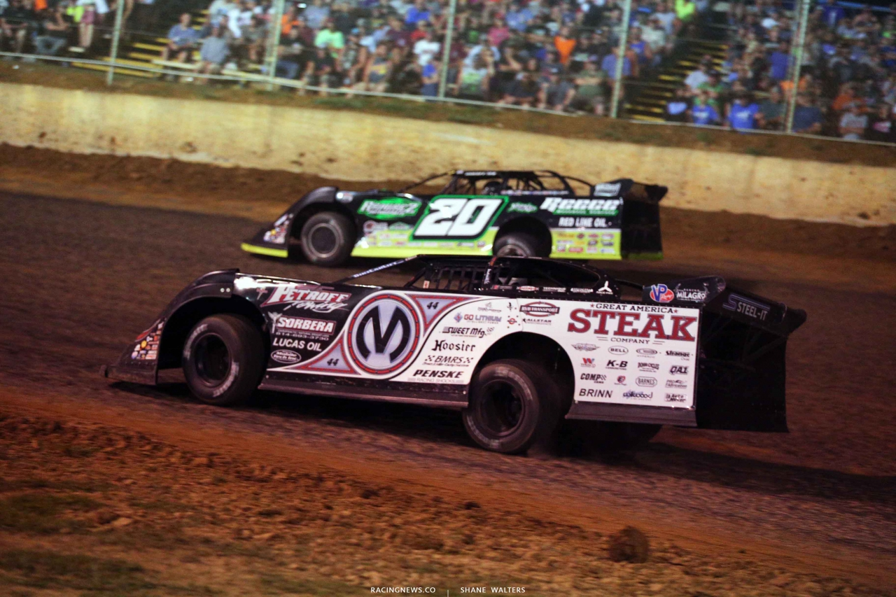 Chris Madden and Jimmy Owens at Florence Speedway - Lucas Oil Late Model Dirt Series 4000