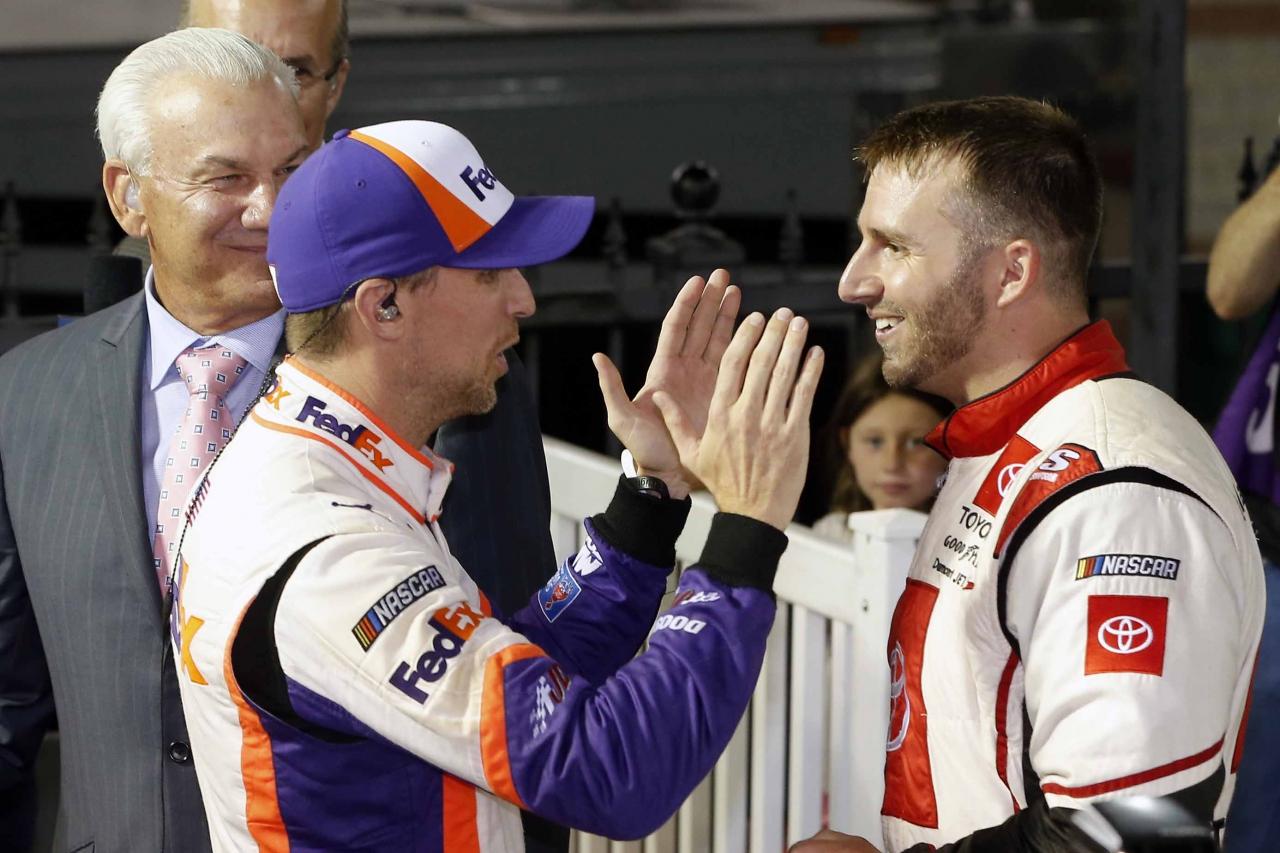 Denny Hamlin and Matt DiBenedetto after the race at Bristol Motor Speedway