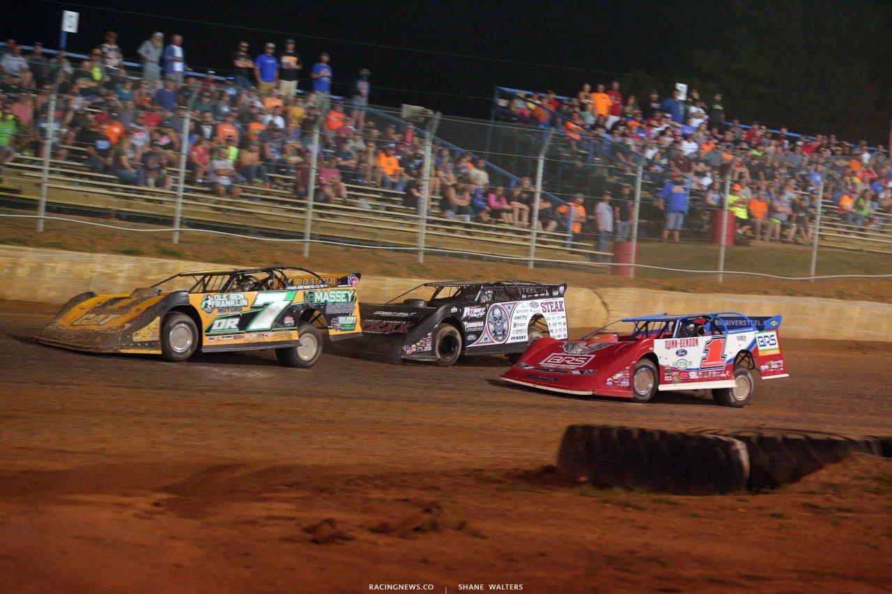 Donald McIntosh, Scott Bloomquist and Devin Moran at Florence Speedway - Lucas Dirt 3678