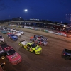 Eldora Dirt Derby at Eldora Speedway - NASCAR Truck Series - Four wide salute