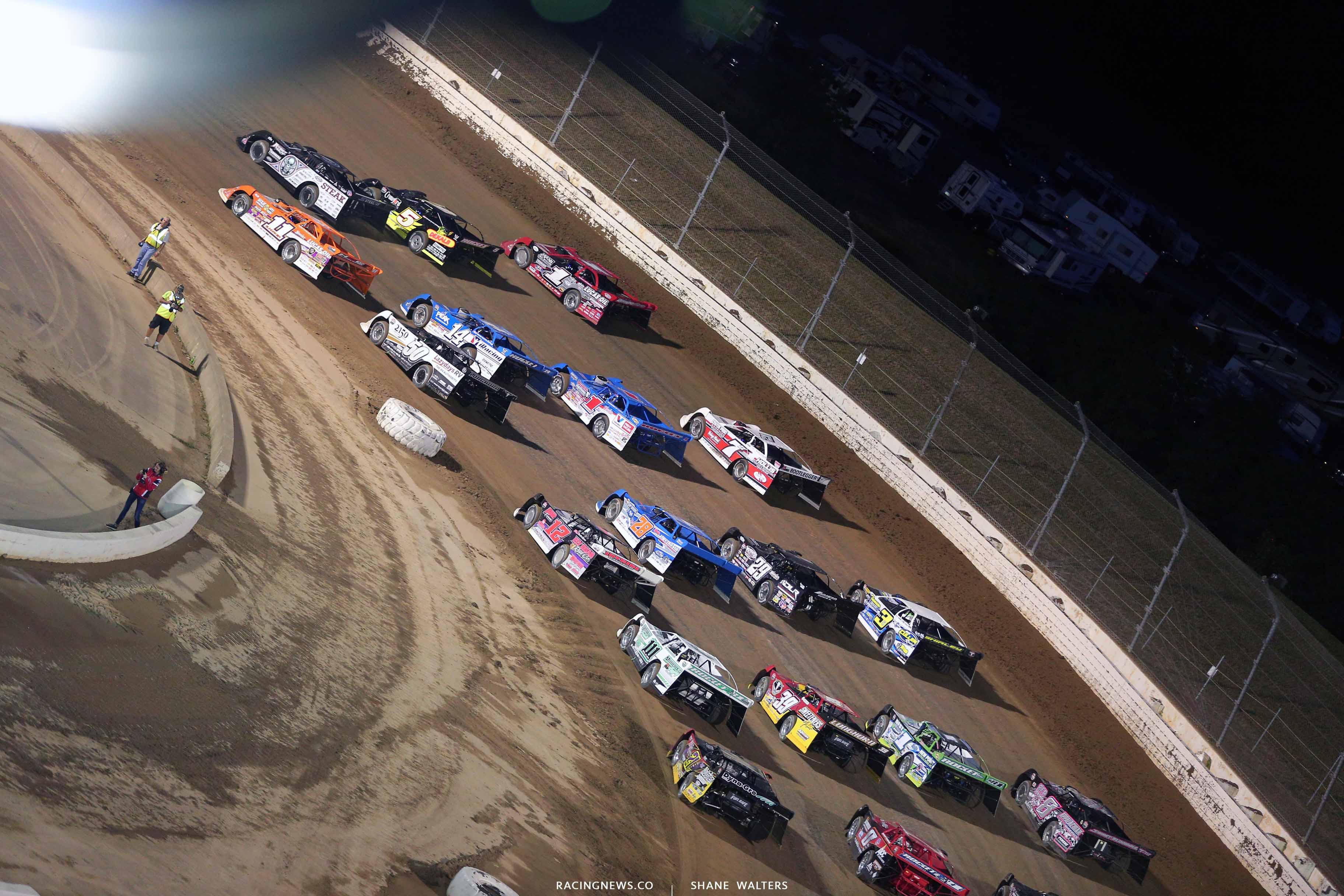 Four wide salute at Mansfield Motor Speedway - Dirt Million - Lucas Oil Late Model Dirt Series 5053