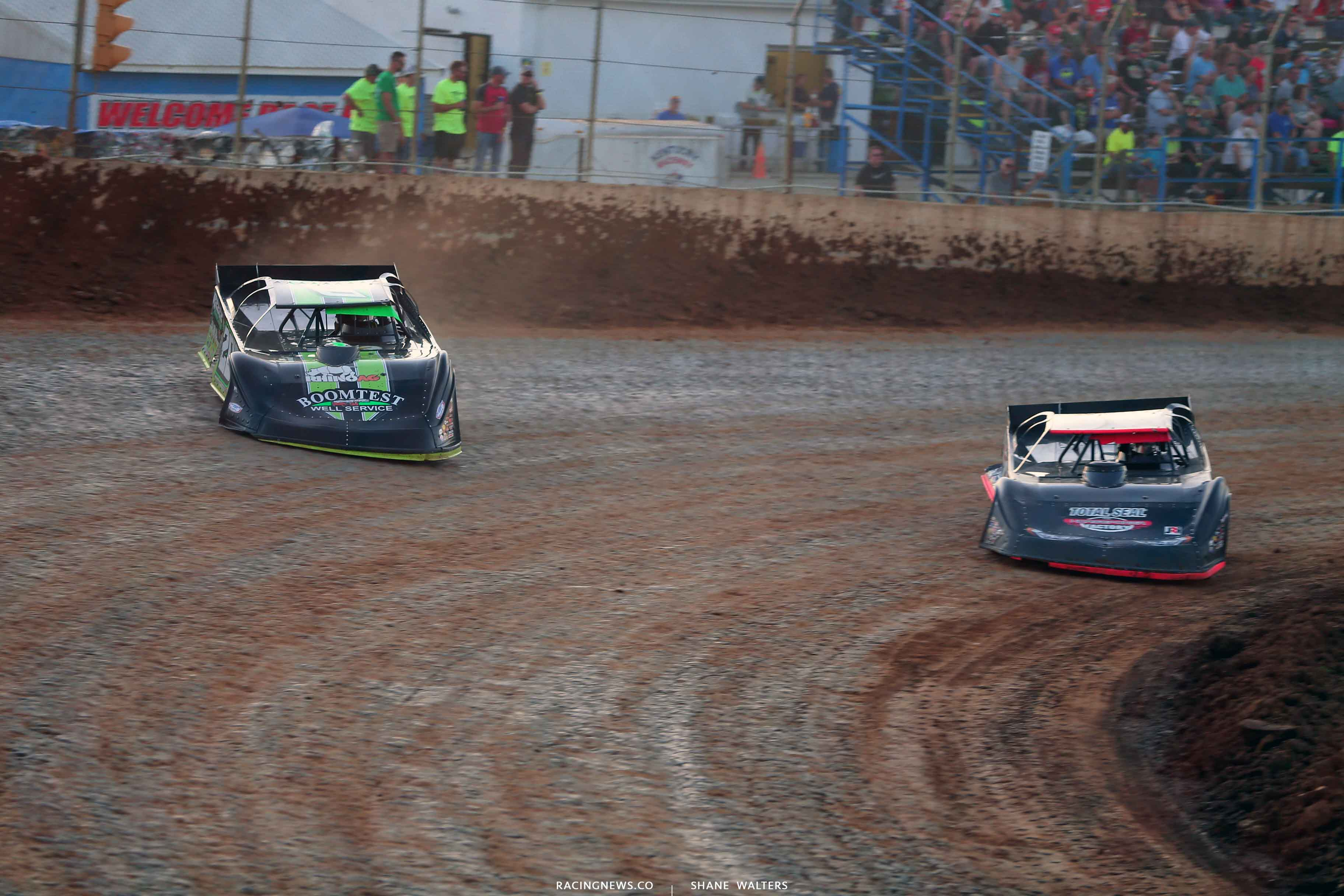 Jimmy Owens and Joey Moriarty at Florence Speedway 3589