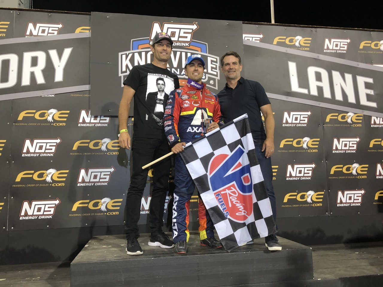 Mark Webber, David Gravel and Jeff Gordon at the Knoxville Nationals