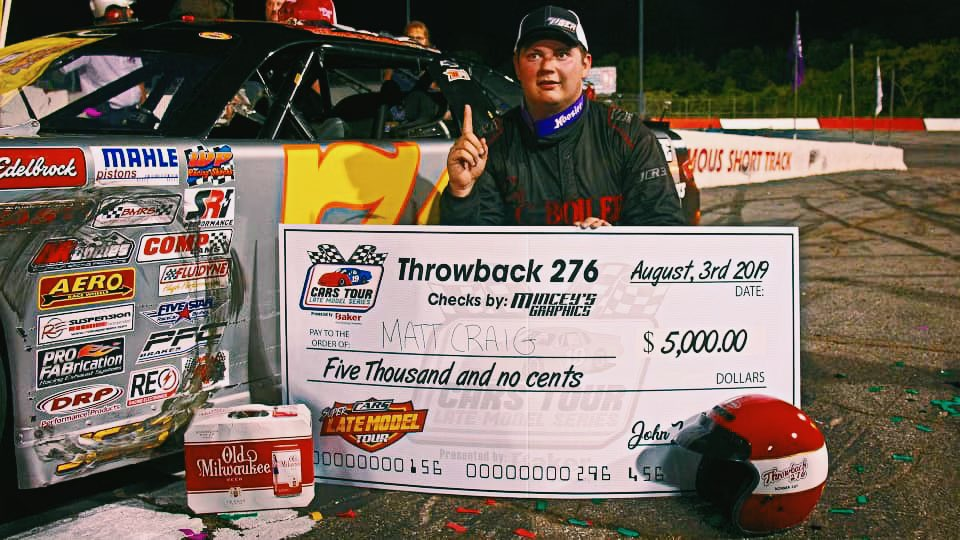 Matt Craig wins the Throwback 276 at Hickory Motor Speedway