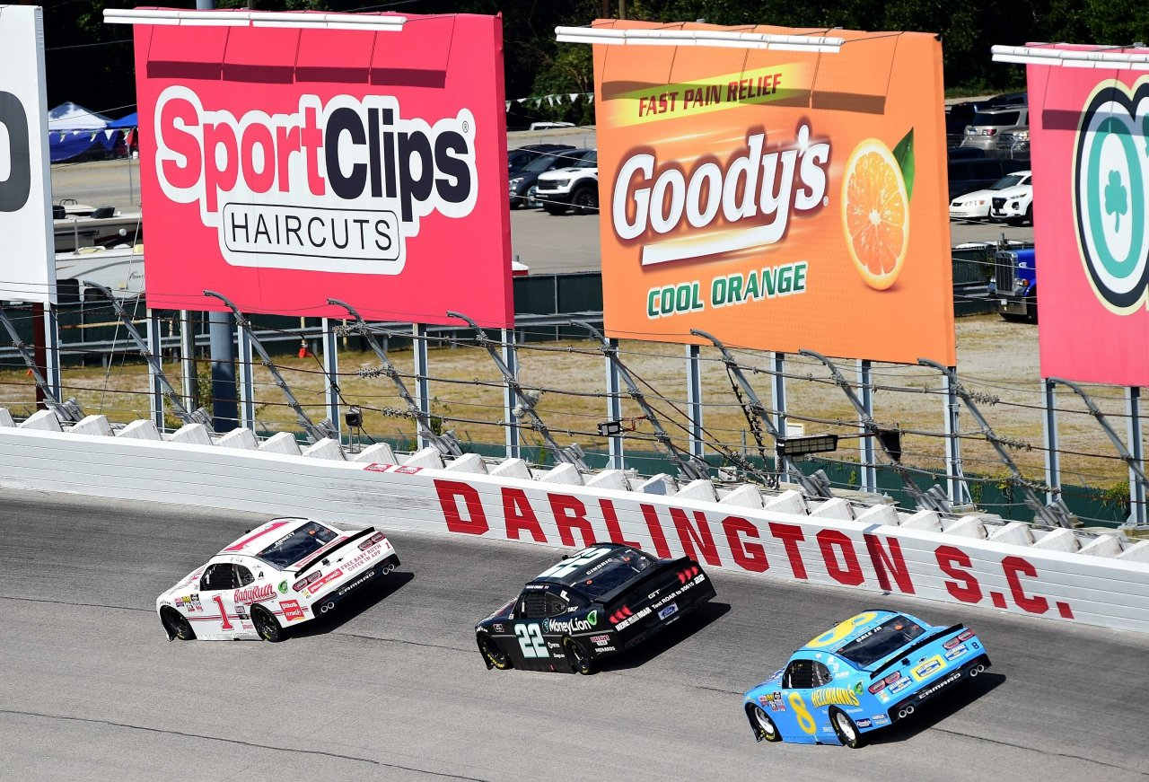 Michaell Annett, Austin Cindric and Dale Earnhardt Jr in the NASCAR Xfinity Series race at Darlington Raceway