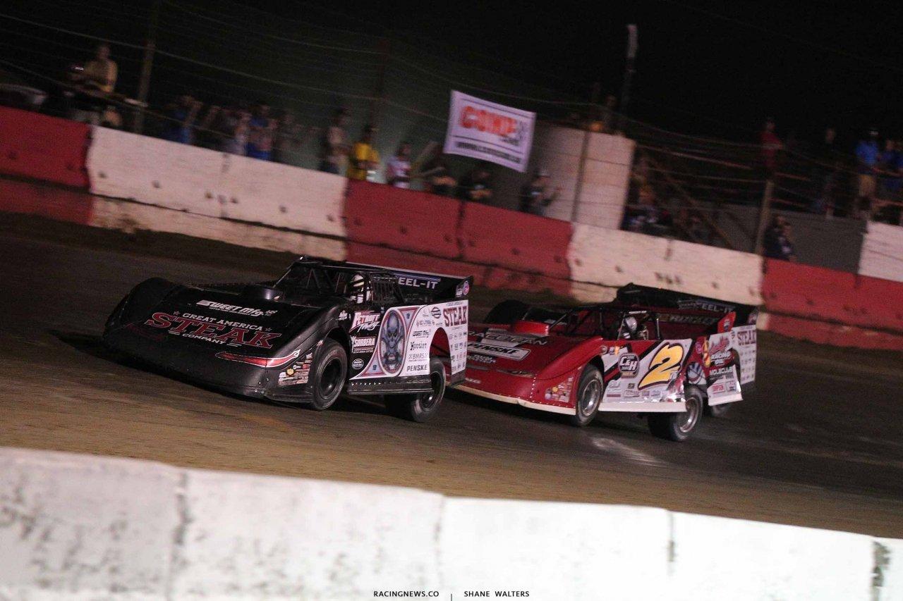 Scott Bloomquist, Brandon Overton and Chris Madden in the Topless 100 at Batesville Motor Speedway 4948