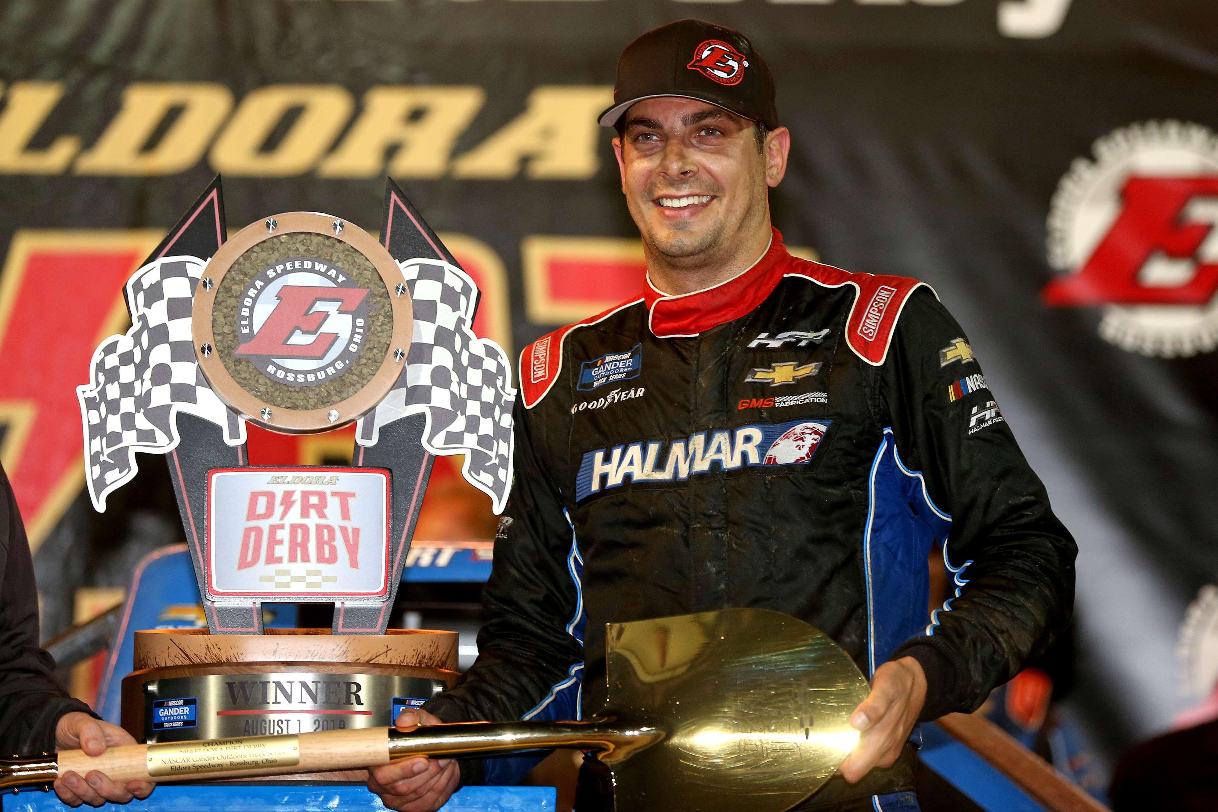 Stewart Friesen and the Golden Shovel in victory lane at Eldora Speedway - NASCAR