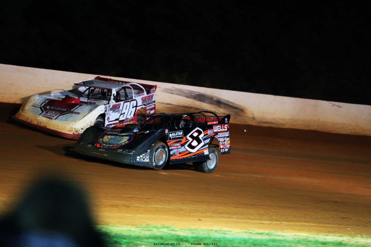 Tanner English and Kyle Strickler at Ponderosa Speedway - Lucas Oil Late Models 5975