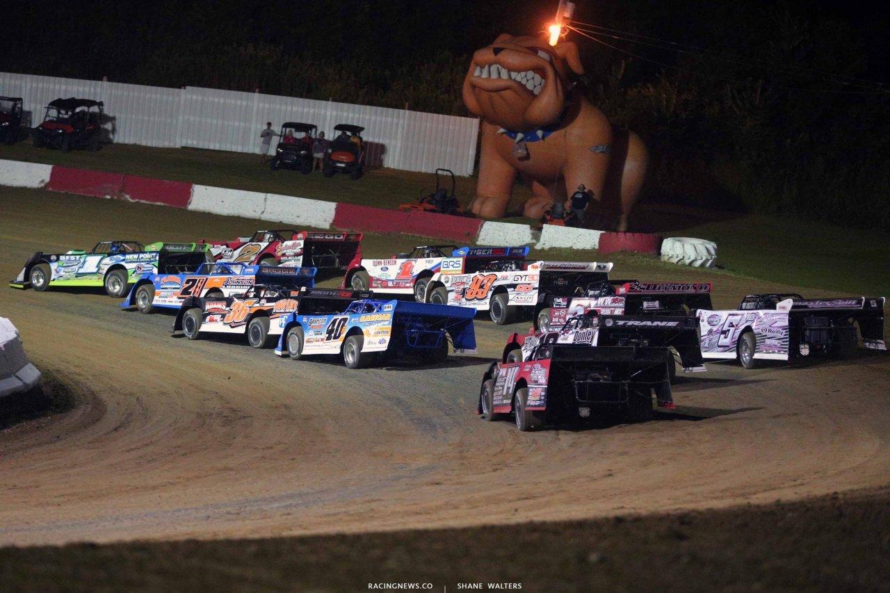 Tyler Erb, Brandon Overton and Devin Moran at Batesville Motor Speedway - LOLMDS 4263