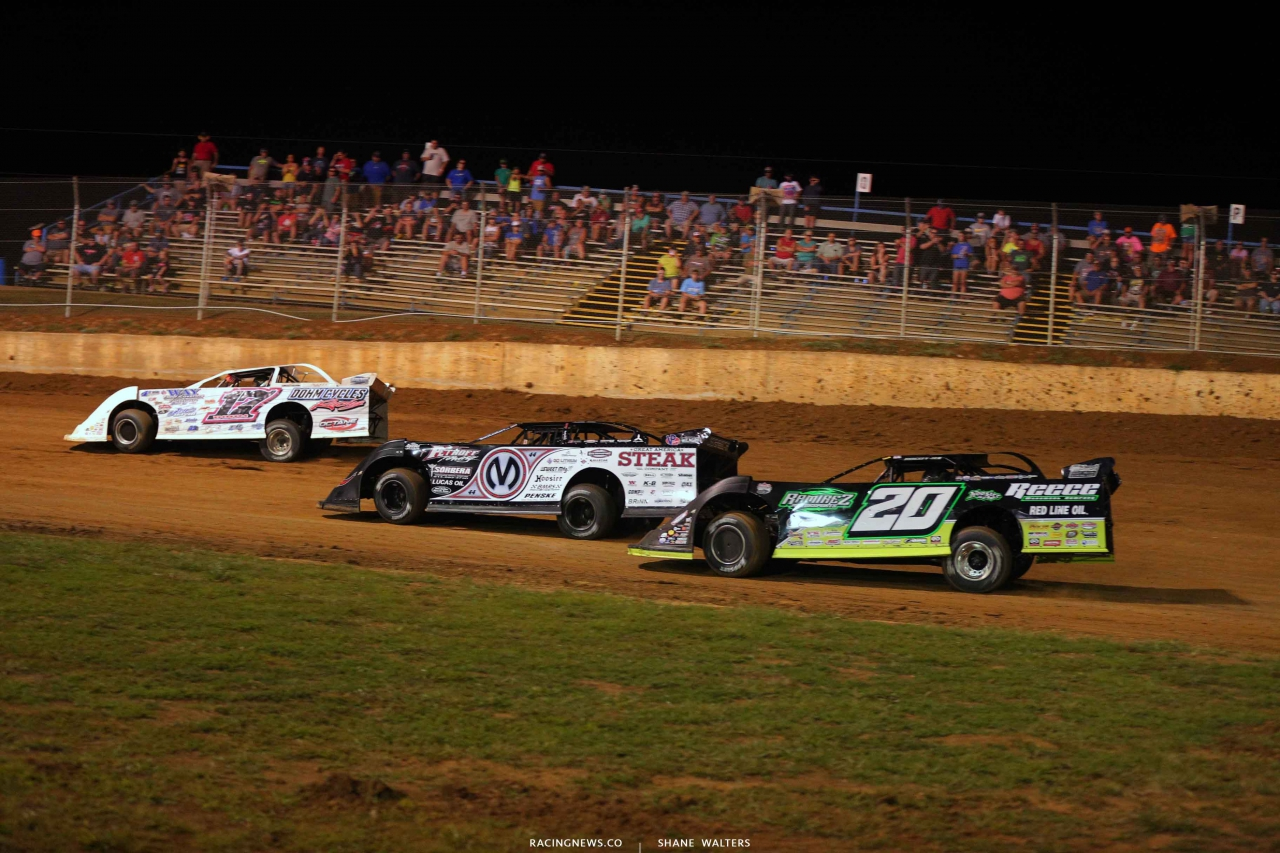 Zack Dohm, Chris Madden and Jimmy Owens at Florence Speedway in the North South Shootout 3314