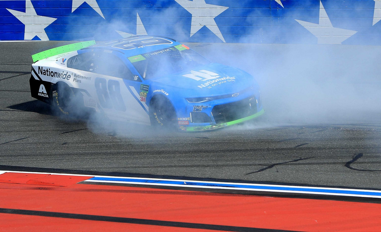 Alex Bowman spins on the ROVAL at Charlotte Motor Speedway
