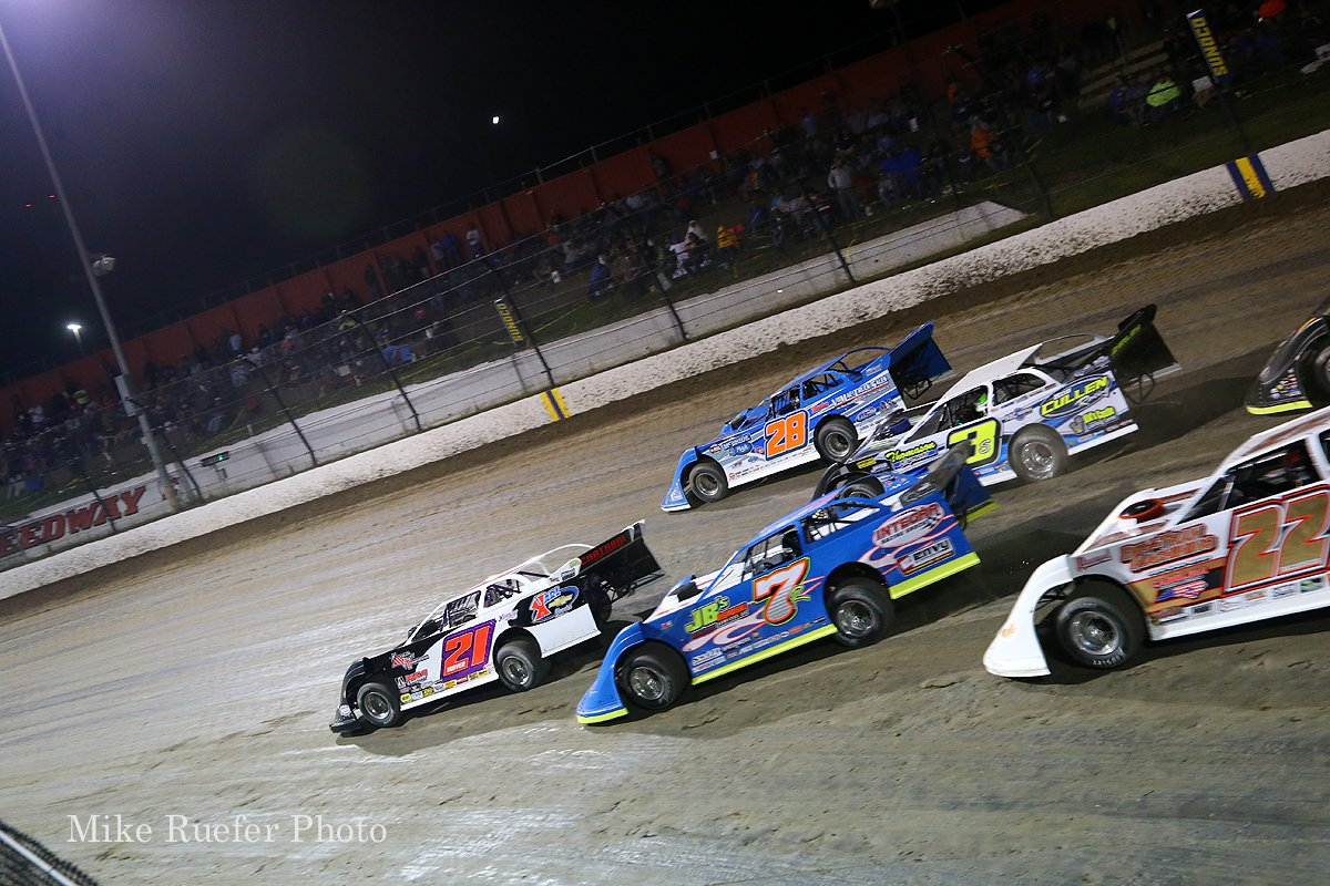 Billy Moyer, Dennis Erb Jr, Kent Robinson and Brian Shirley in the World 100 at Eldora Speedway