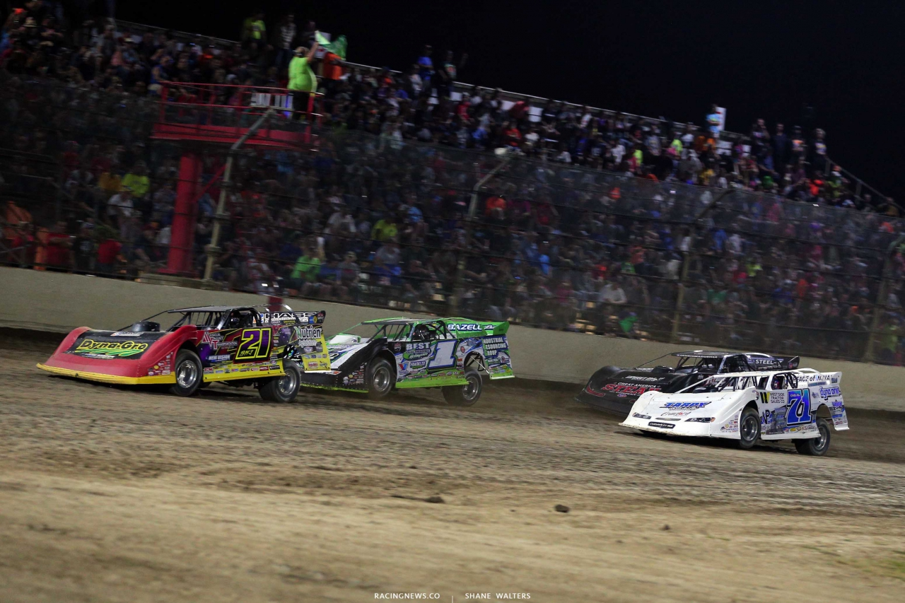 Billy Moyer Jr, Tyler Erb, Hudson O'Neal and Don O'Neal at Kokomo Speedway - Lucas Oil Dirt Series 7563