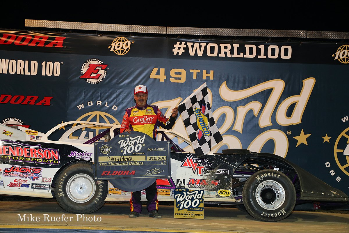 Billy Moyer in victory lane at Eldora Speedway