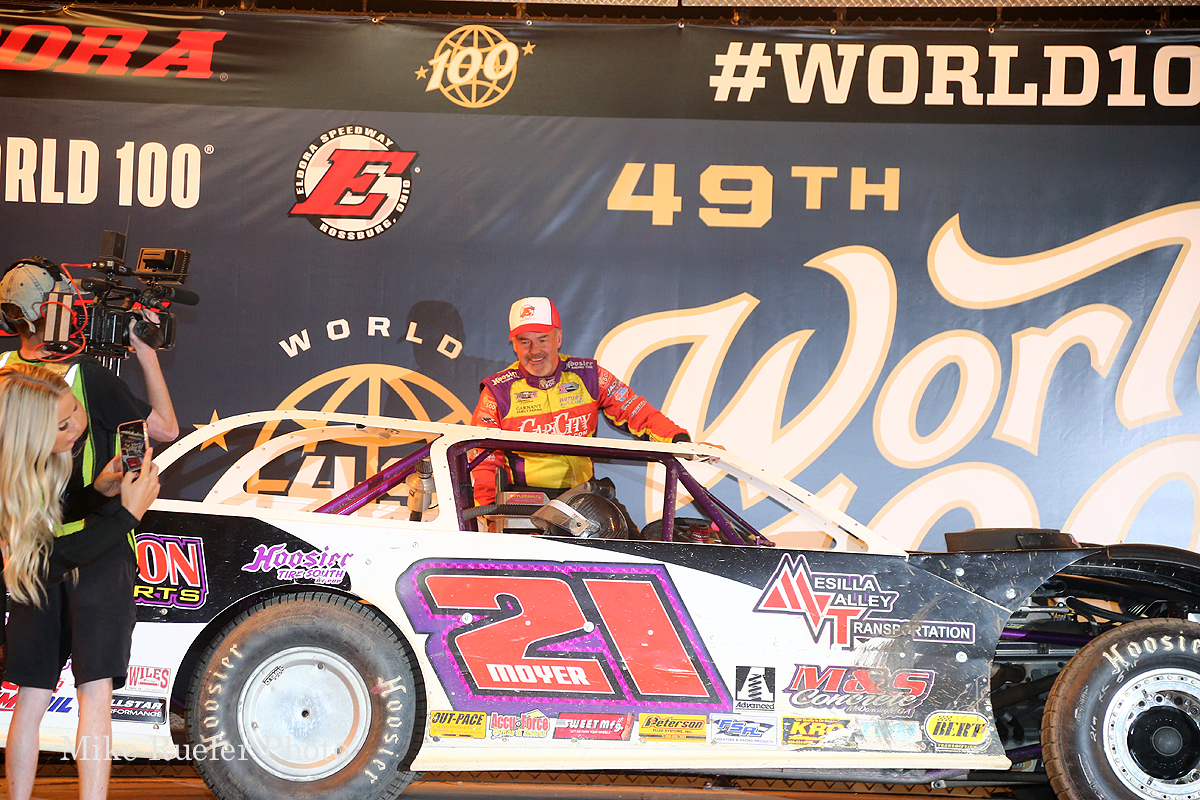 Billy Moyer in victory lane during the World 100 weekend at Eldora Speedway