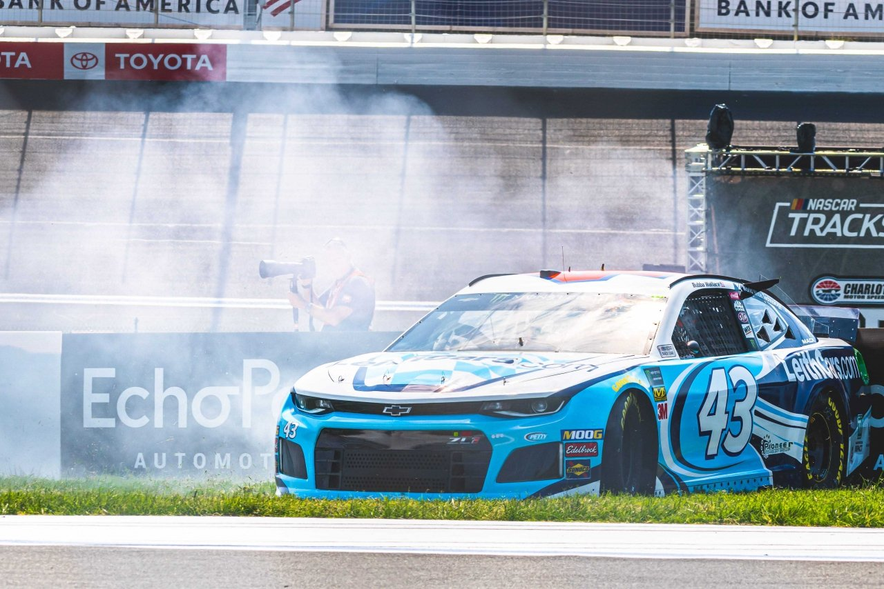 Bubba Wallace spins on The ROVAL at Charlotte Motor Speedway - NASCAR