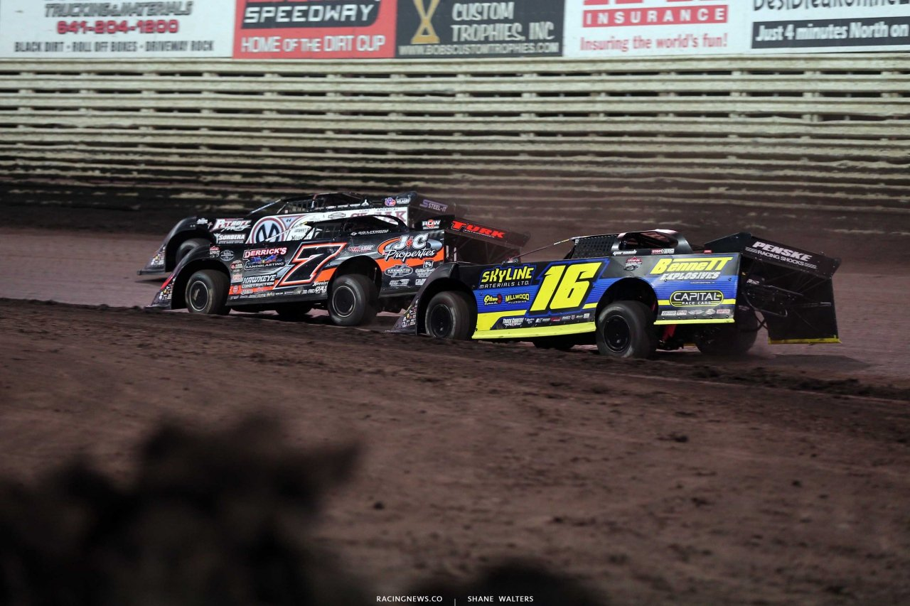 Chris Madden, Ricky Weiss and Tyler Bruening at Knoxville Raceway in the Lucas Oil Late Model Nationals 6933