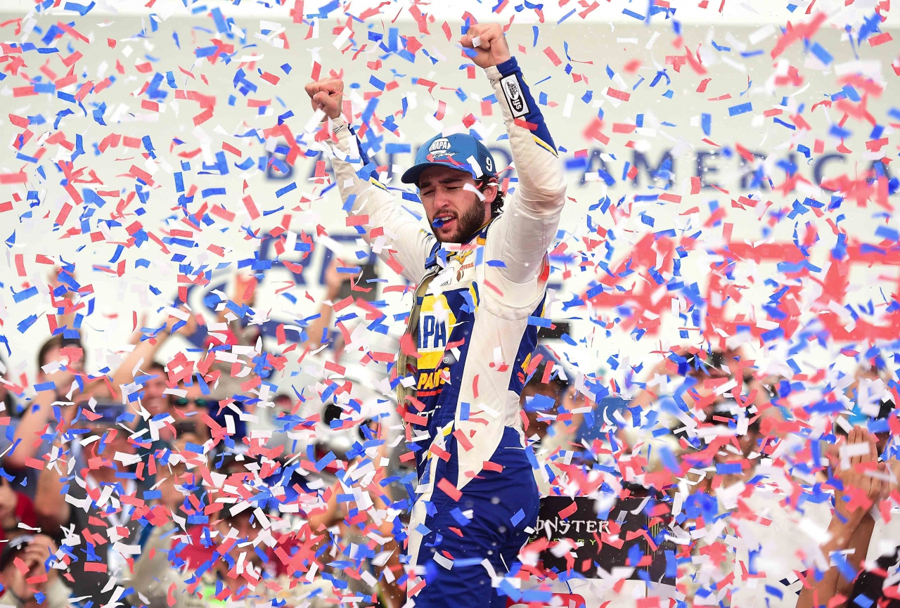 Chase Elliott in victory lane at The ROVAL - NASCAR Cup Series