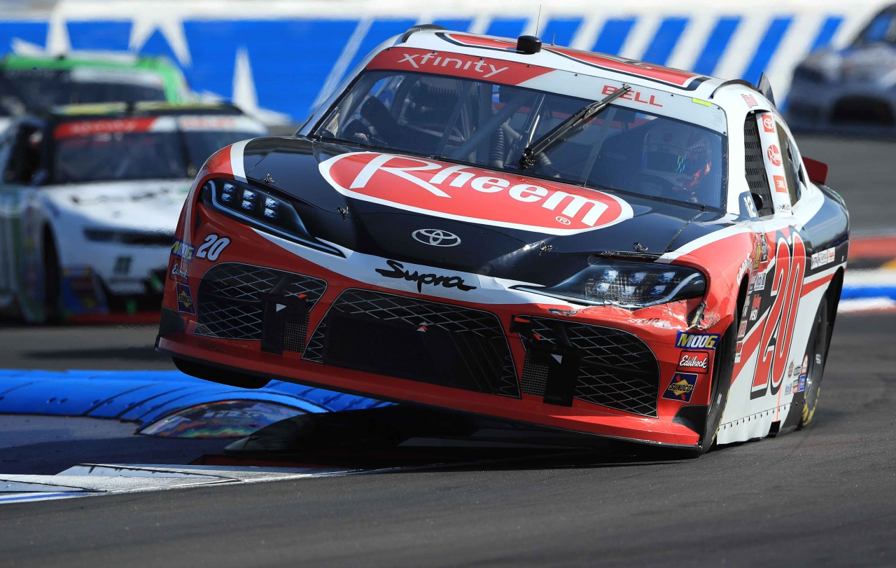 Christopher Bell jumps curbs on the ROVAL at Charlotte Motor Speedway - NASCAR Xfinity Series