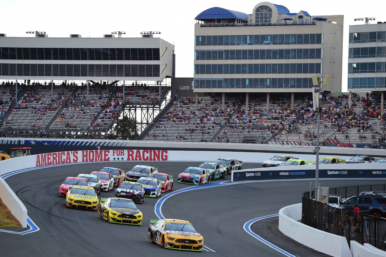 Clint Bowyer leads Brad Keselowski on the ROVAL at Charlotte Motor Speedway - NASCAR Cup Series