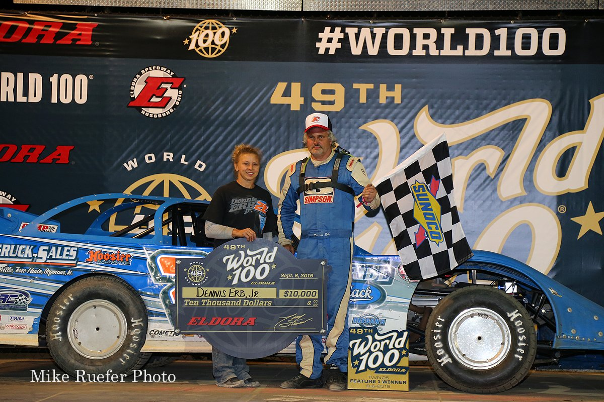 Dennis Erb Jr in victory lane at Eldora Speedway