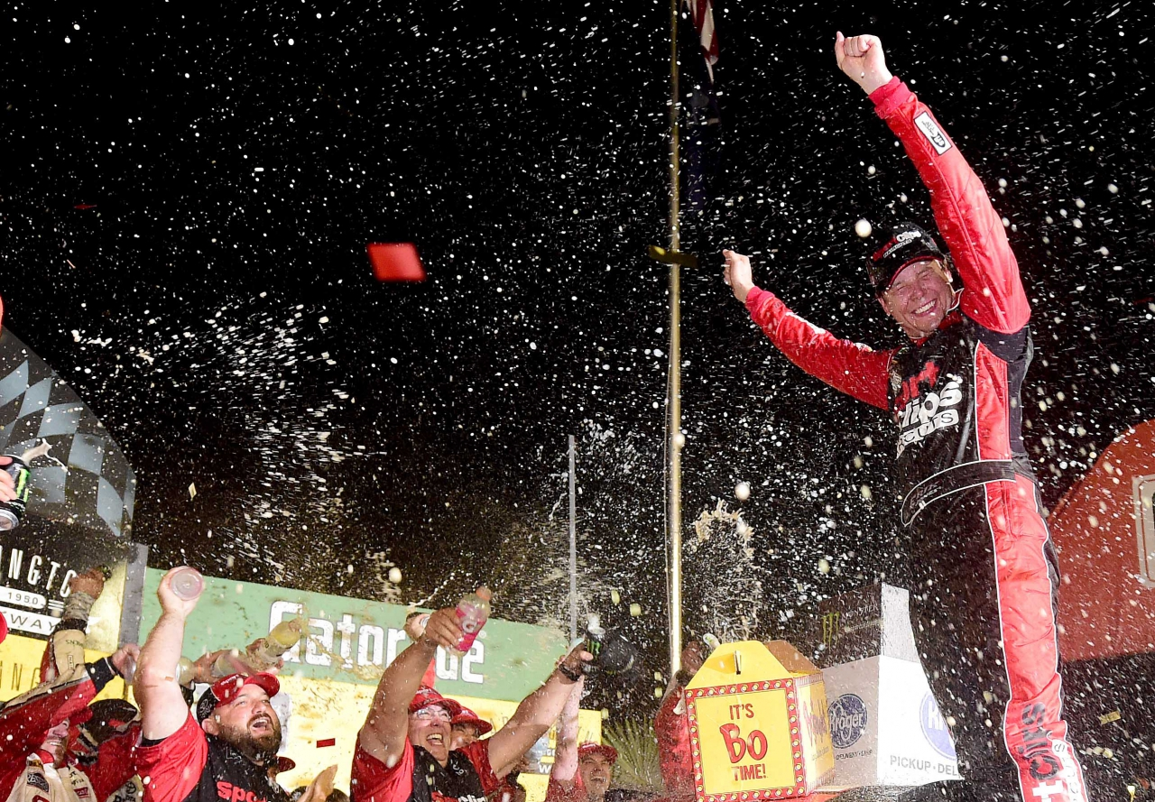 Erik Jones in NASCAR victory lane at Darlington Raceway