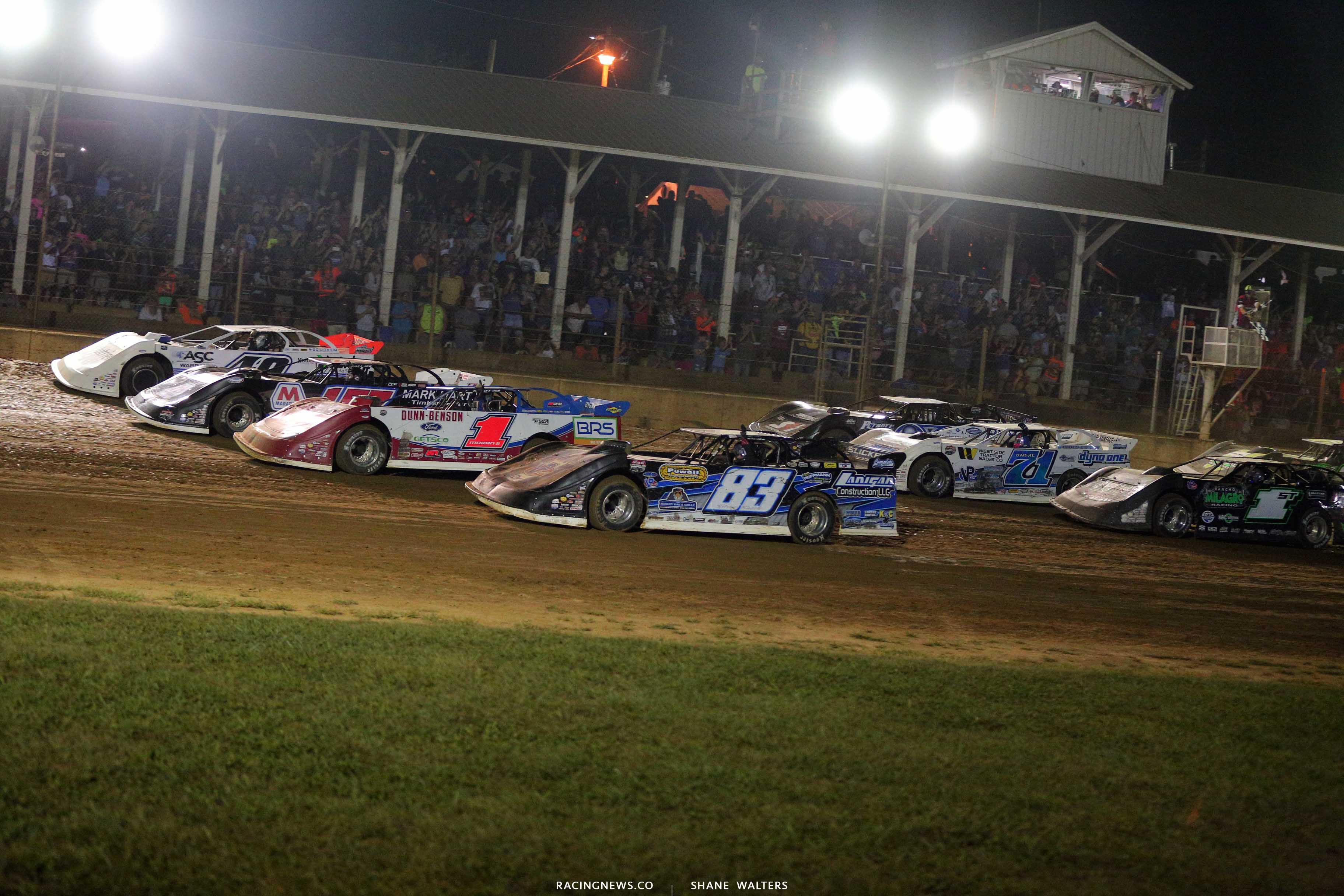 Four wide salute at Brownstown Speedway 7837