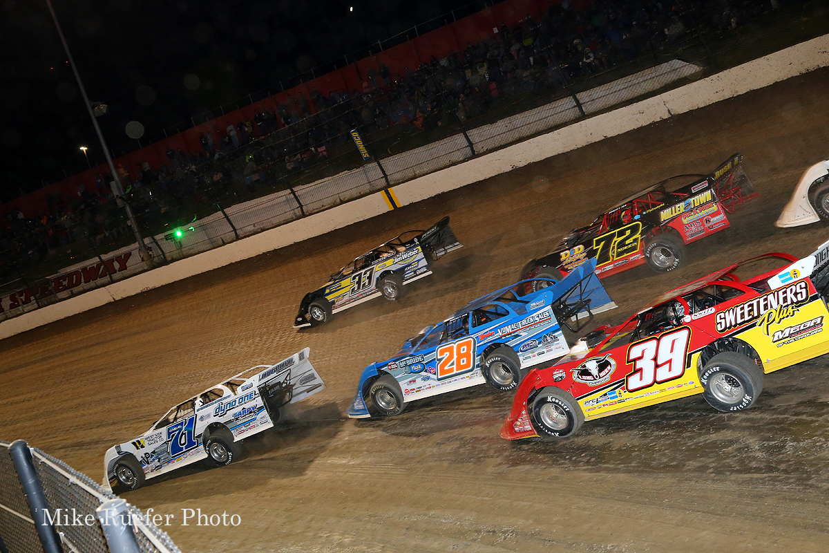 Hudson O'Neal, Jonathan Henry, Dennis Erb Jr, Michael Norris and Tim McCreadie at Eldora Speedway