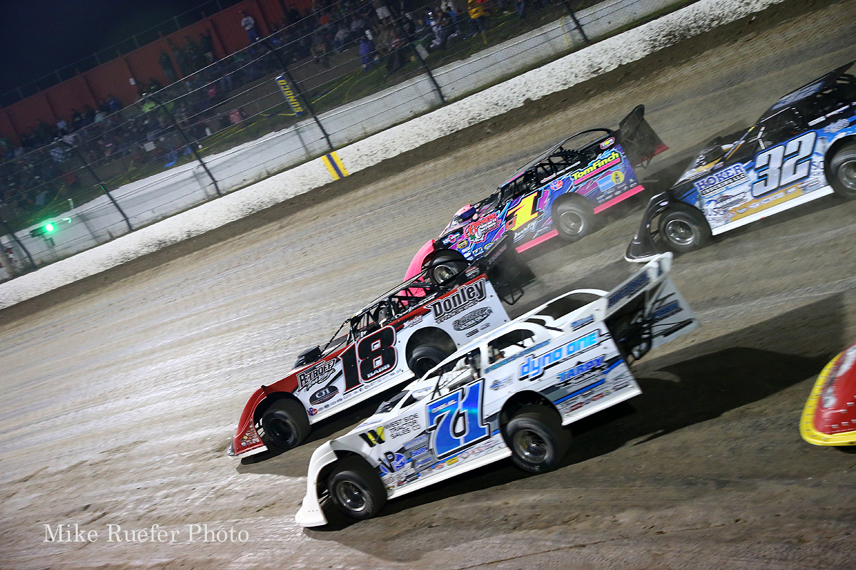Hudson O'Neal, Shannon Babb and Rusty Schlenk at Eldora Speedway - World 100