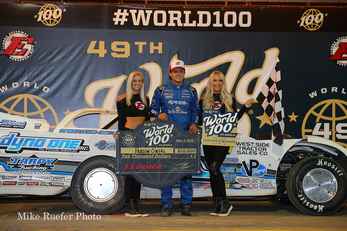 Hudson O'Neal in victory lane at Eldora Speedway - World 100