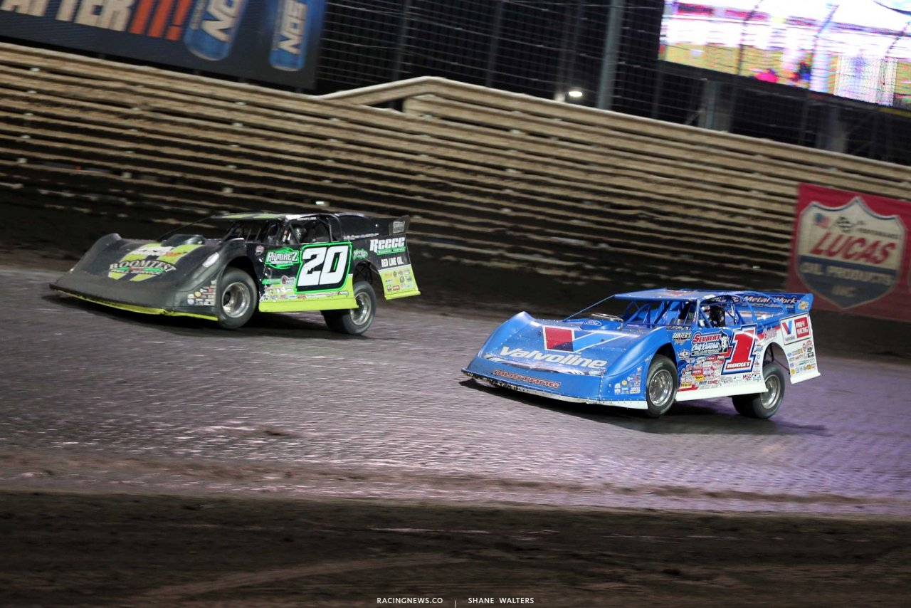 Jimmy Owens and Brandon Sheppard at Knoxville Raceway - Lucas Oil Late Model Dirt Series 7434
