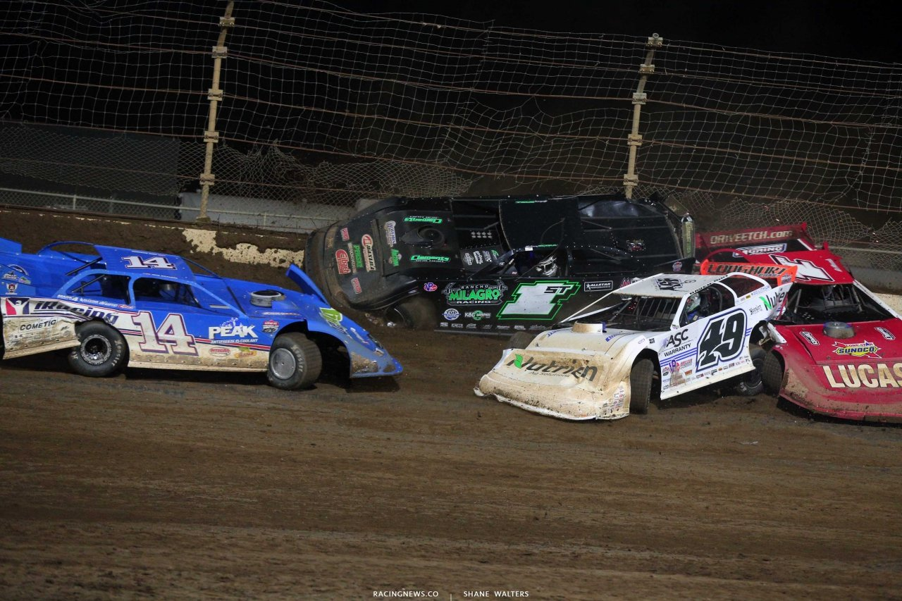 Josh Richards and Jonathan Davenport crash at Kokomo Speedway - Lucas Oil Late Model Series 7674