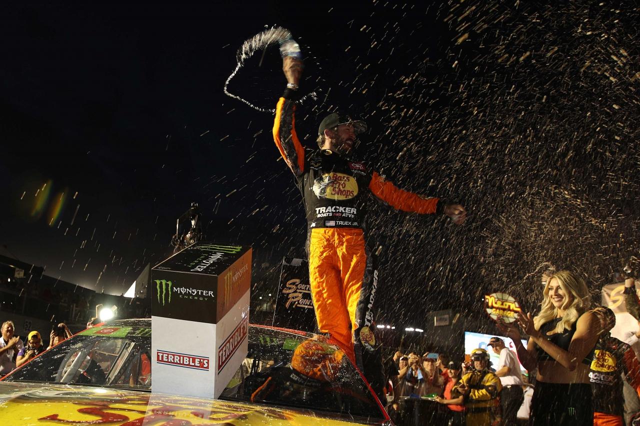 Martin Truex Jr in victory lane at Las Vegas Motor Speedway