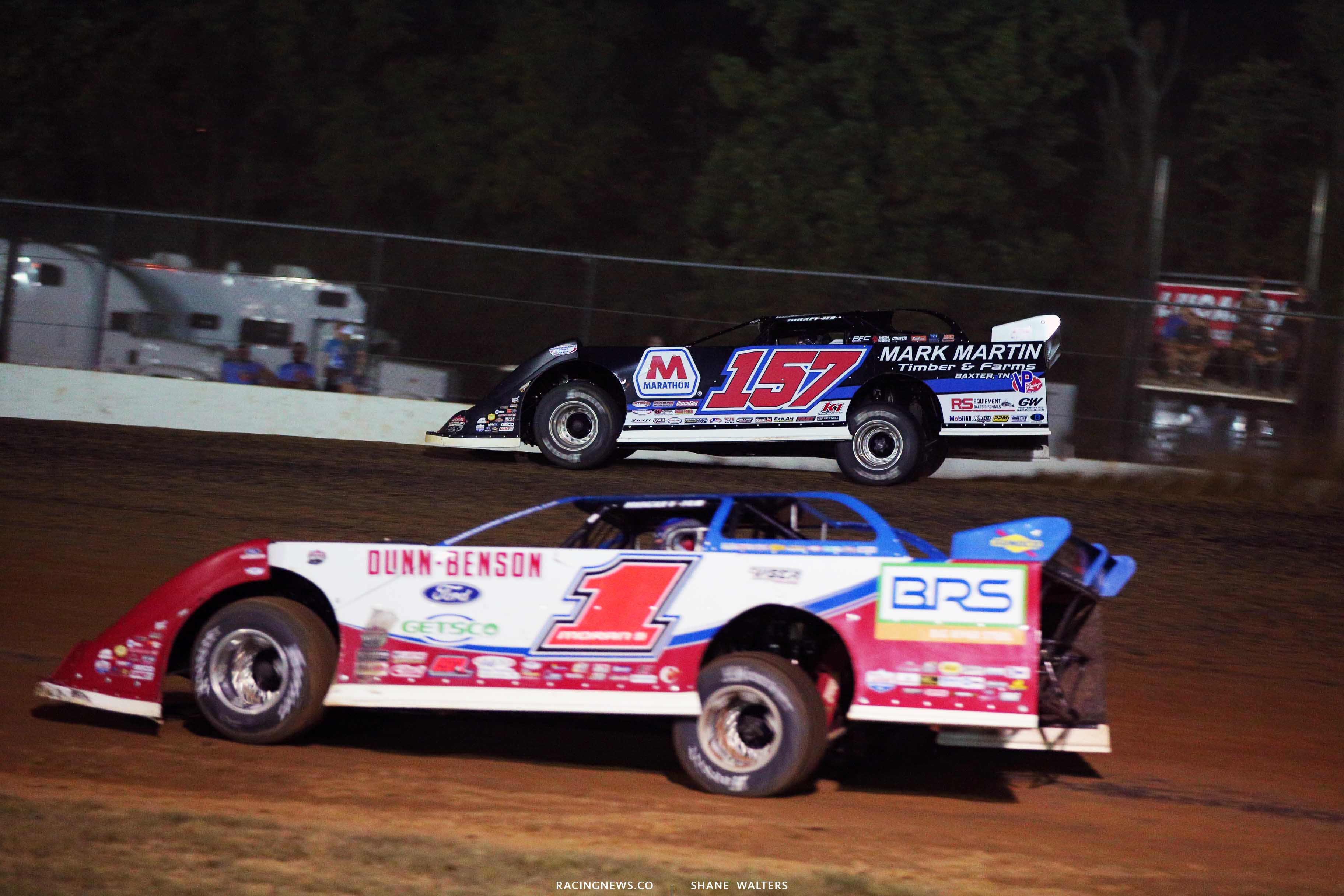 Mike Marlar and Devin Moran at Brownstown Speedway - Lucas Oil Late Models 8005