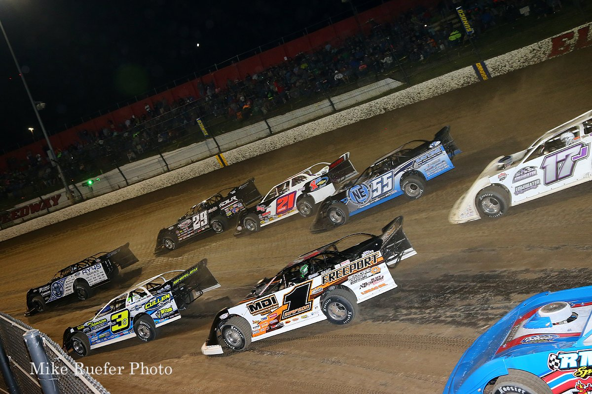 Scott Bloomquist, Darrell Lanigan, Brian Shirley and Billy Moyer at Eldora Speedway