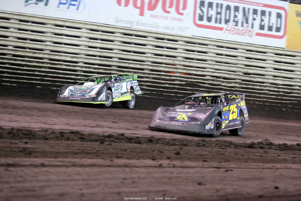 Shane Clanton and Tyler Erb at Knoxville Raceway - Lucas Oil Late Model Nationals