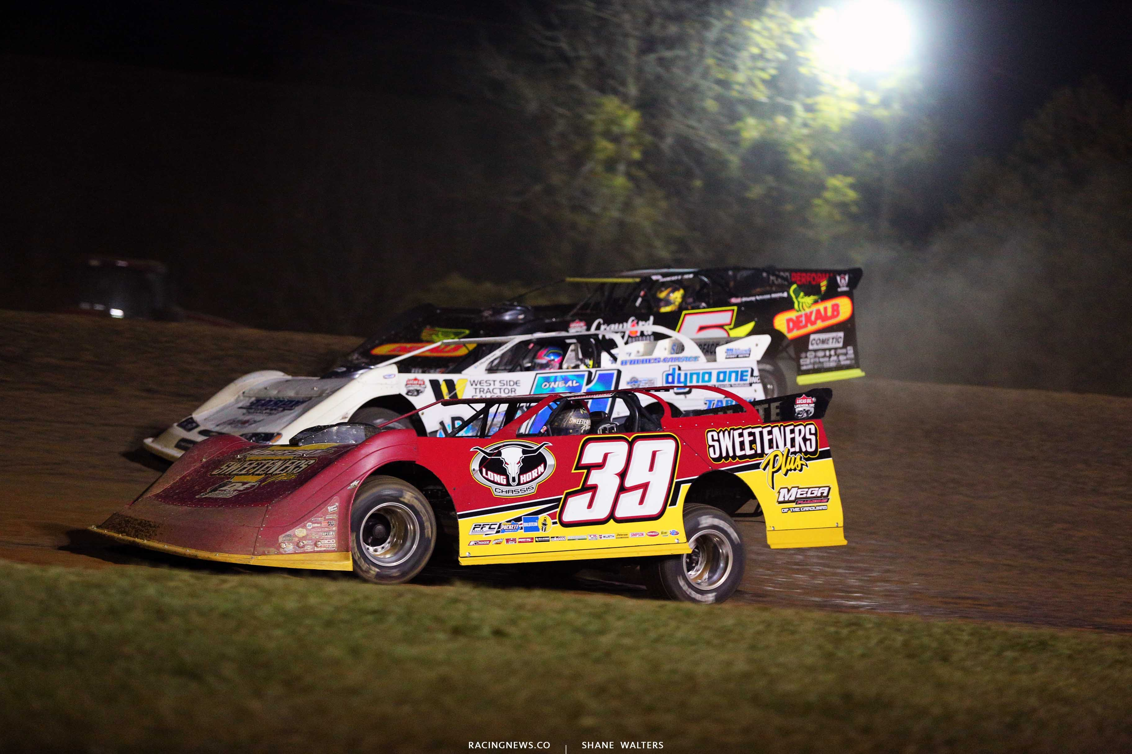 Tim McCreadie, Hudson O'Neal and Don O'Neal at Brownstown Speedway - Lucas Oil Series 8023