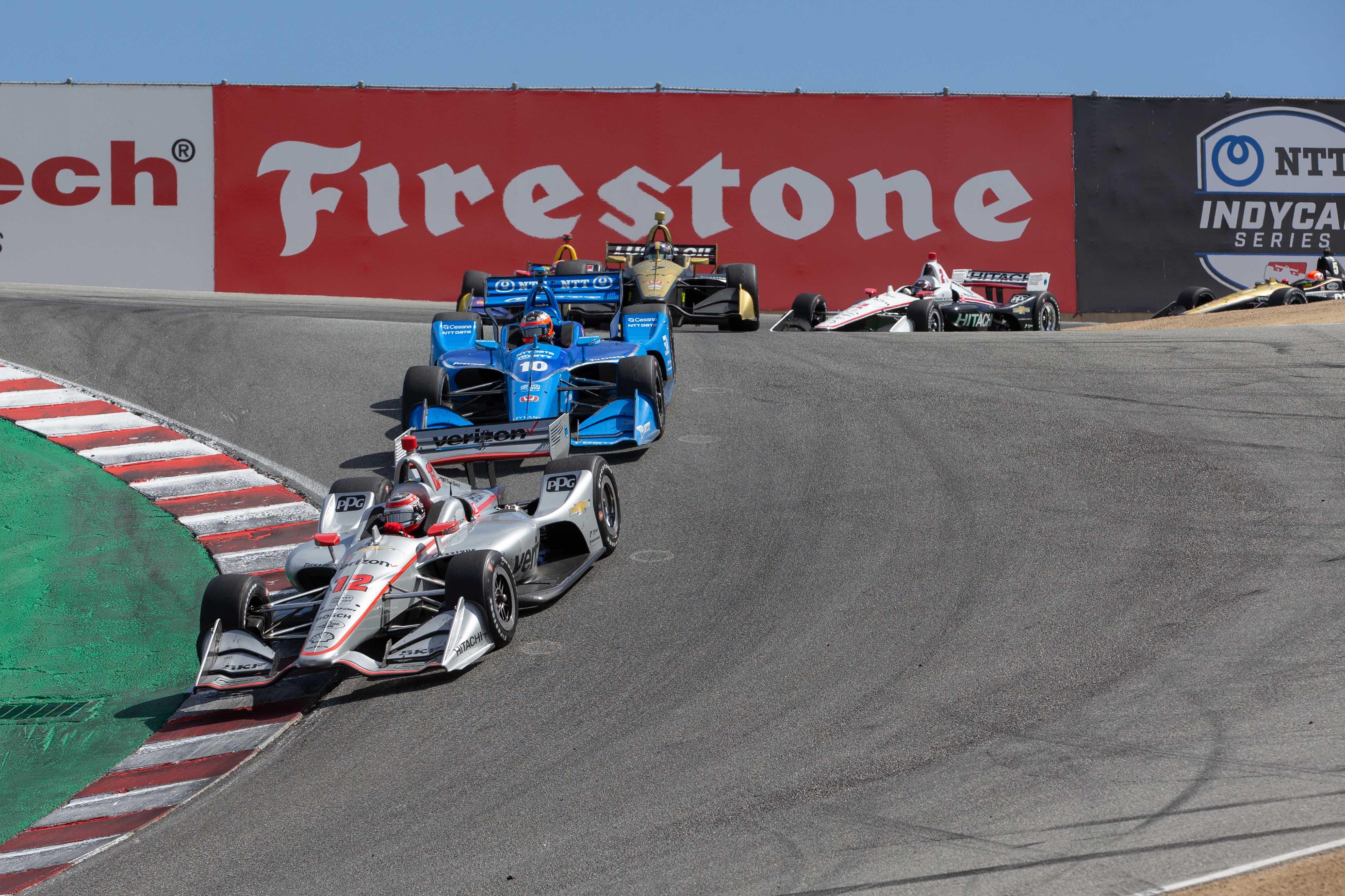 Will Power in the crokscrew corner at Laguna Seca - Indycar